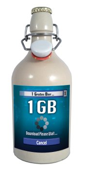 1 GB = EIN GROSSES BIER = Das Download Gamer Bier in der 0,5 Liter Tonflasche mit edlem Pils