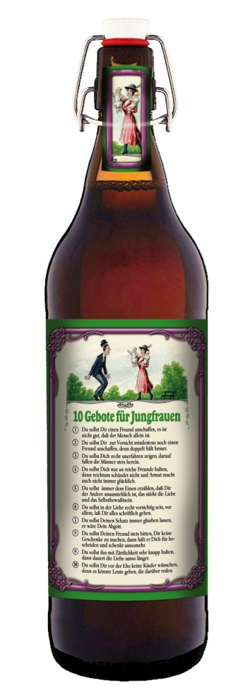 10 gebote f r jungfrauen 1 liter flasche bier mit b gelverschluss. Black Bedroom Furniture Sets. Home Design Ideas